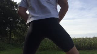 Exhibitionismus - Lycra pantyhose masturbation
