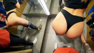Blow Job - 22yo Sara sucking cock in fitting room