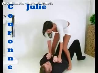 Divertente - White-dressed Julie Couronne wrestle and win!