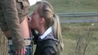 Pipe - Blonde gives a public blowjob