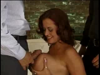 - MILF with huge Jugs! take on 2 cocks!