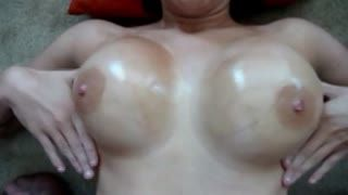Big Tits - Filming wifes oiled boobs