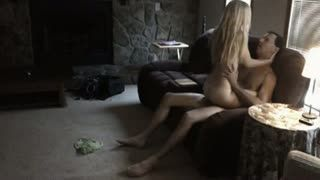 Blow Job - Blonde Wife Fucked In The Living Room