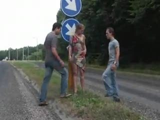 Exhibe - Public - public sex threesome in a two roads cro...