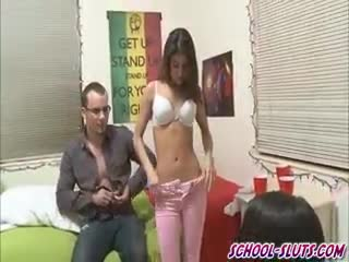 Femme dessus - Petite Latina Girl Fucked in Front of Her Sorori...