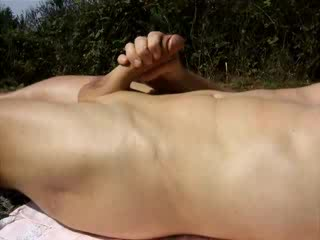 outdoor cumshot with hairless cock