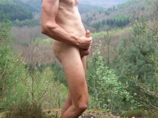 outdoor cumshot with my shaved cock