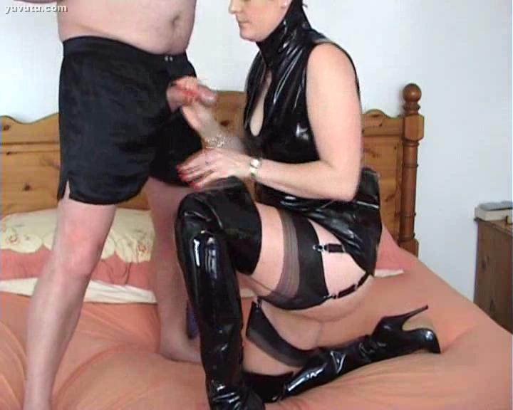 Thigh booted cock slut