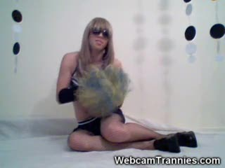 Shemale Cheerleader on Cam!