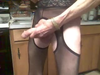 Mature - black crotchless pantyhose