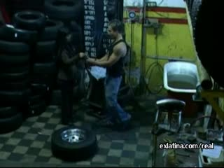 Mechanic pulls panties aside and fucks latina GF