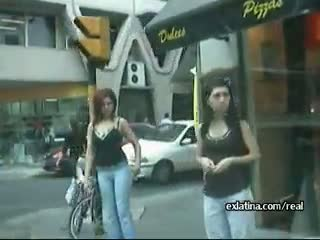 Slutty latina on the street gets groped by men