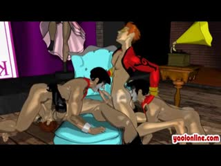 Hentai - Hottie hentai gays in foursome action