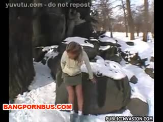 Ass on a snow day Public Sex for Money Reality Outdoor Hardcore