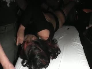 Wife gang fucked in a public bar